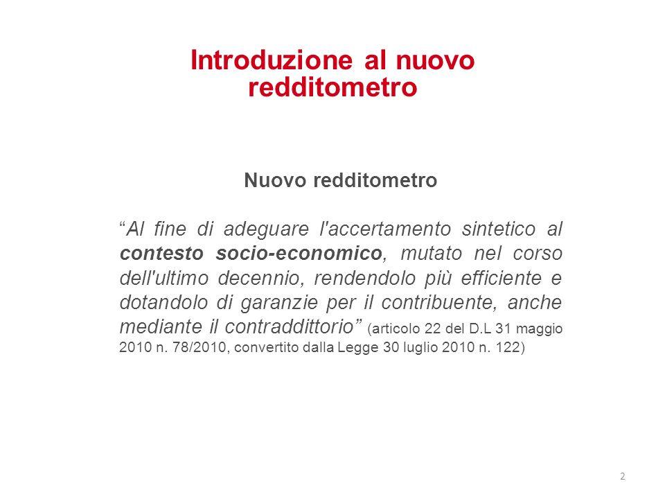 Introduzione al nuovo redditometro