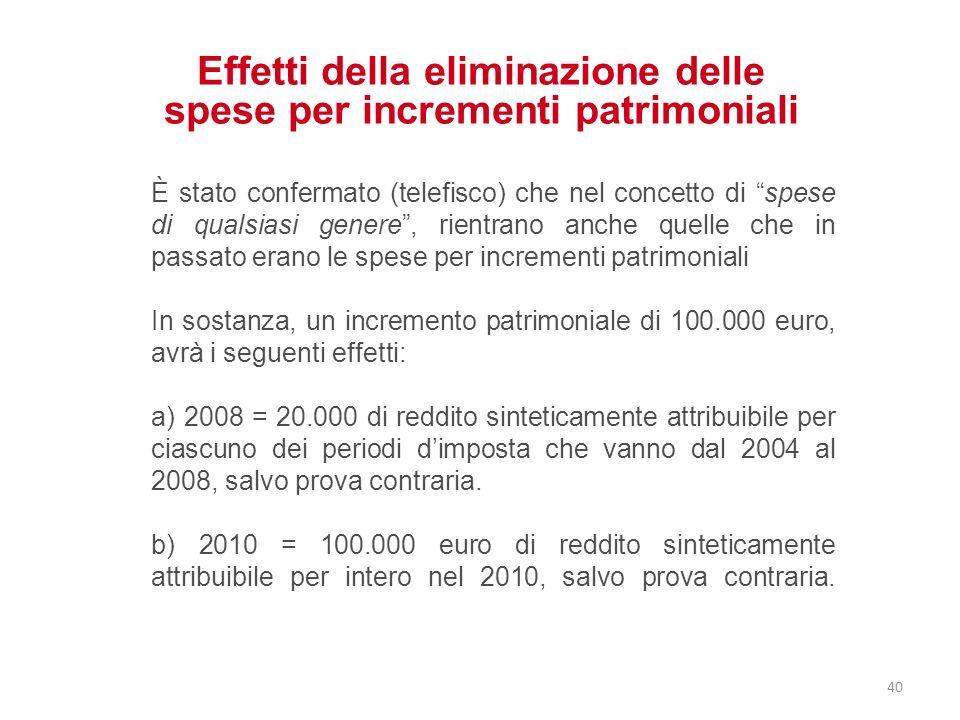 Effetti della eliminazione delle spese per incrementi patrimoniali