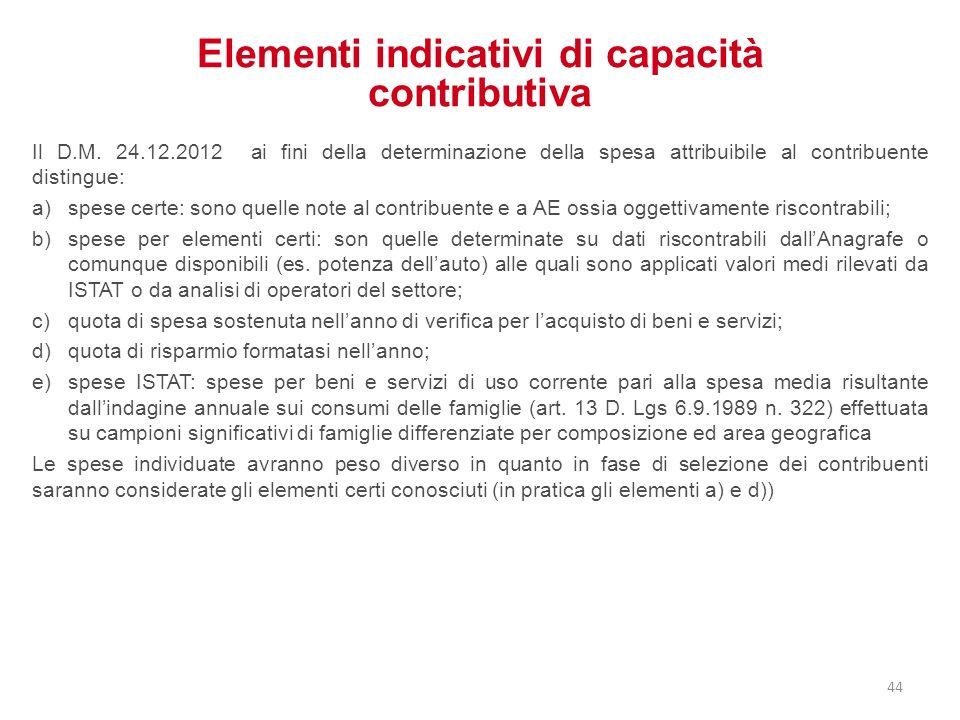 Elementi indicativi di capacità contributiva
