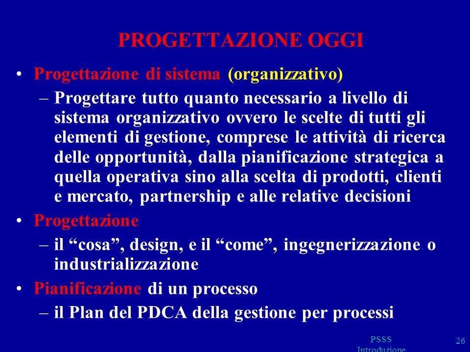 PROGETTAZIONE OGGI Progettazione di sistema (organizzativo)