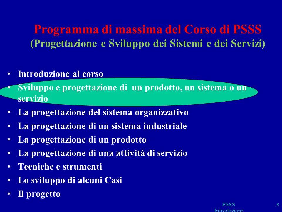 Programma di massima del Corso di PSSS (Progettazione e Sviluppo dei Sistemi e dei Servizi)