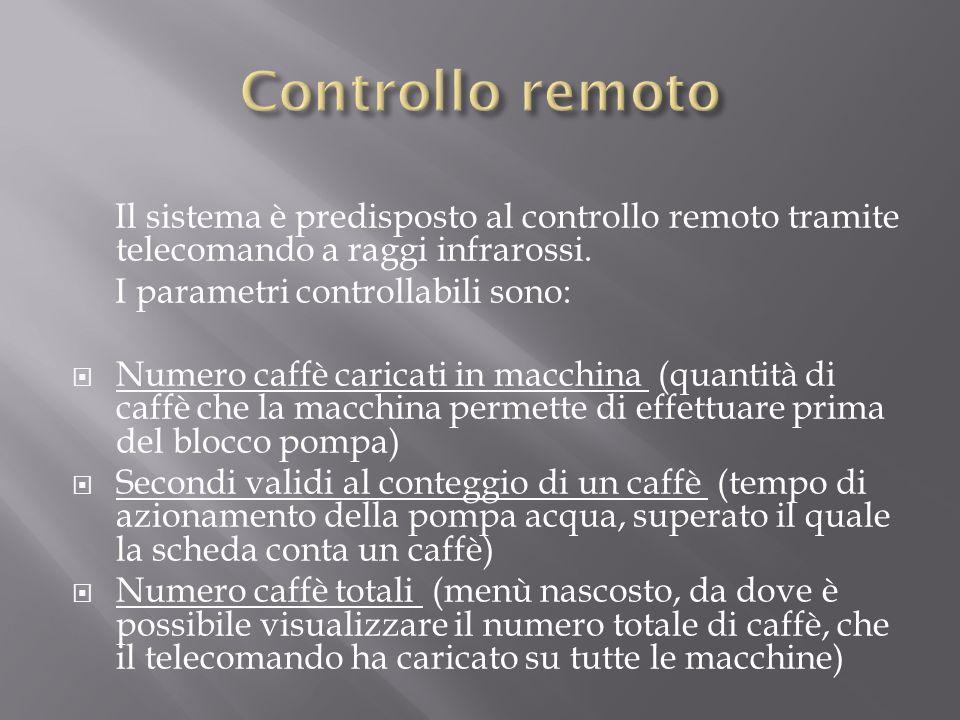 Controllo remoto Il sistema è predisposto al controllo remoto tramite telecomando a raggi infrarossi.