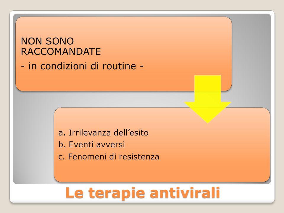 Le terapie antivirali NON SONO RACCOMANDATE