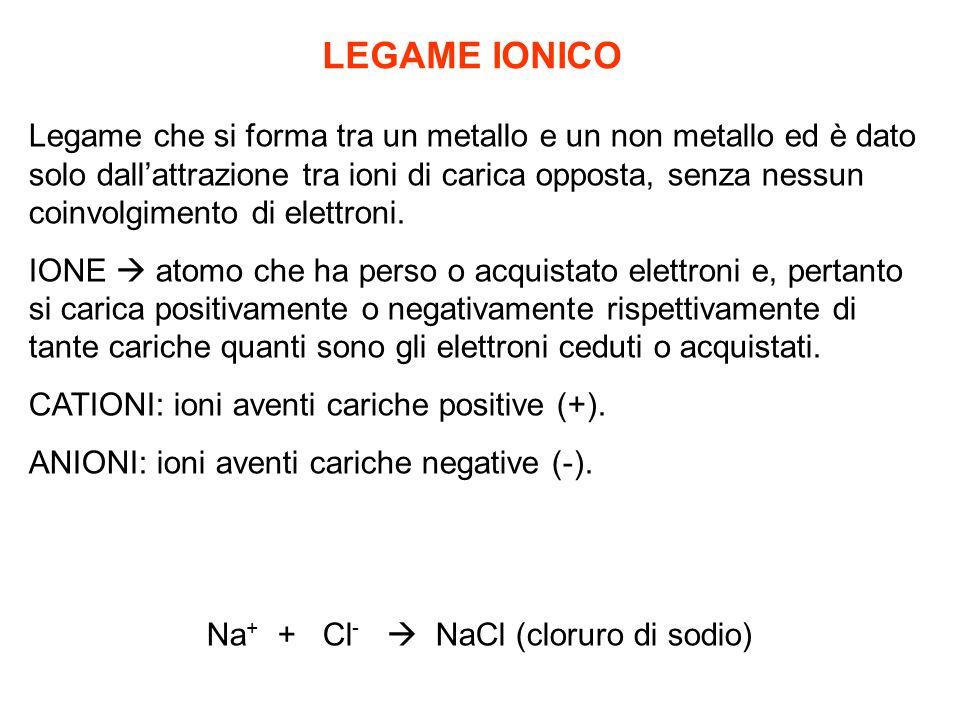Na+ + Cl-  NaCl (cloruro di sodio)