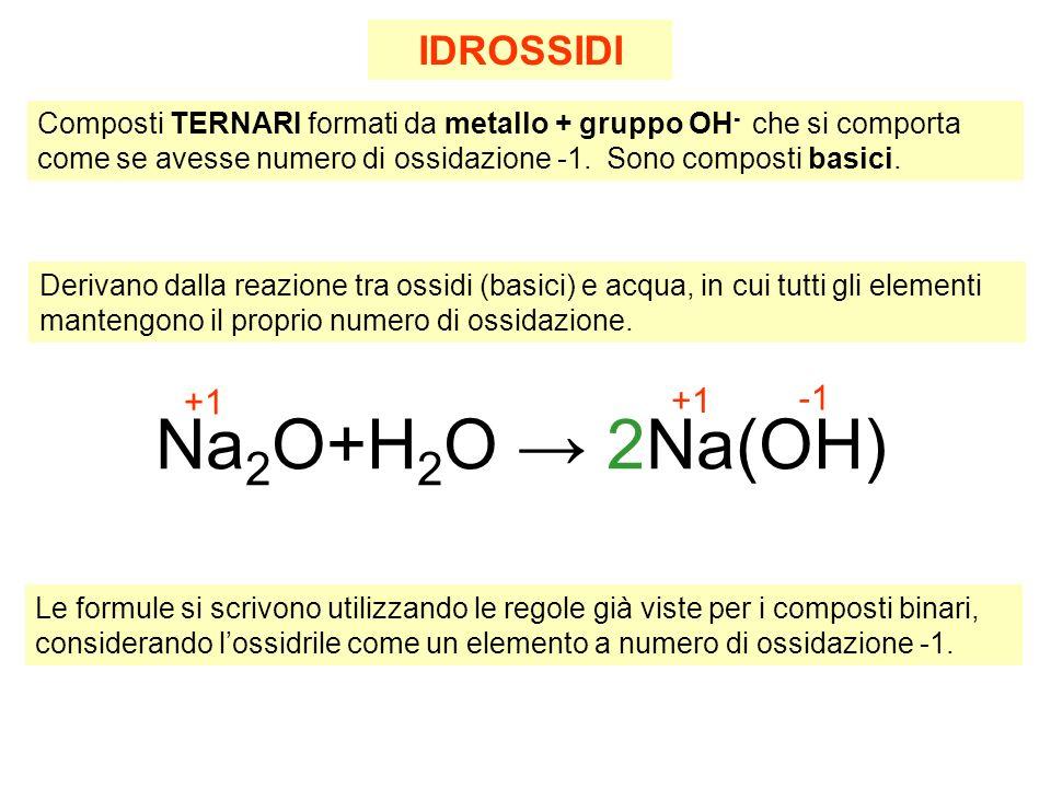 Na2O+H2O → 2Na(OH) IDROSSIDI -1 +1