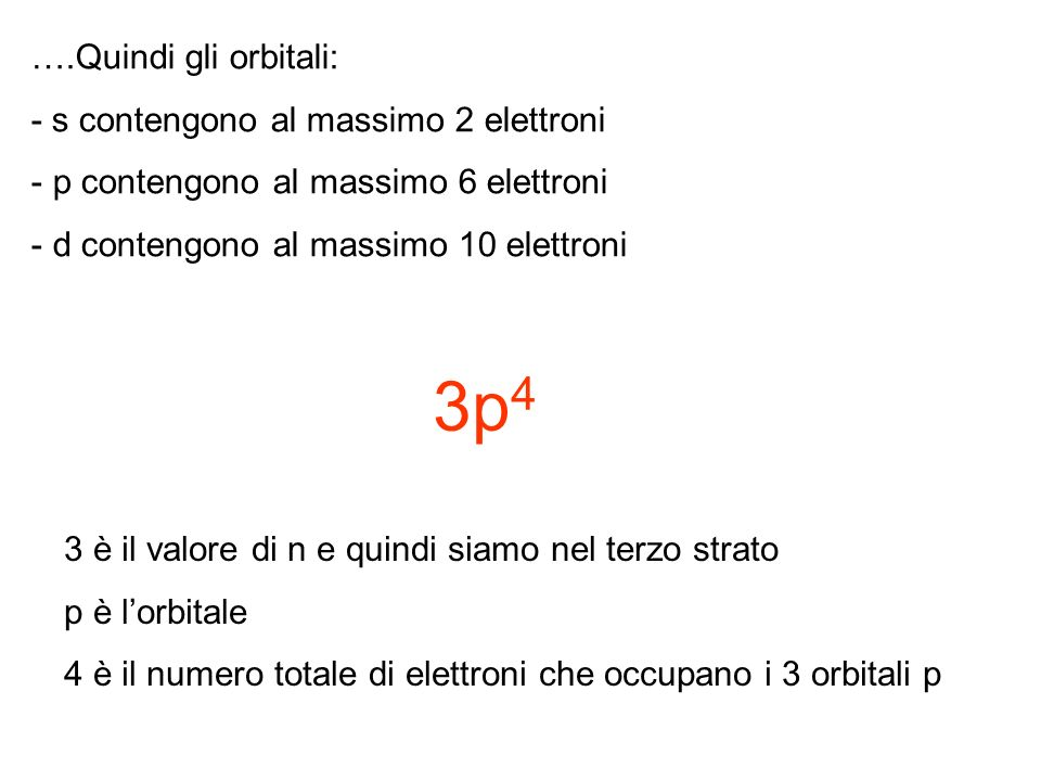 3p4 ….Quindi gli orbitali: - s contengono al massimo 2 elettroni