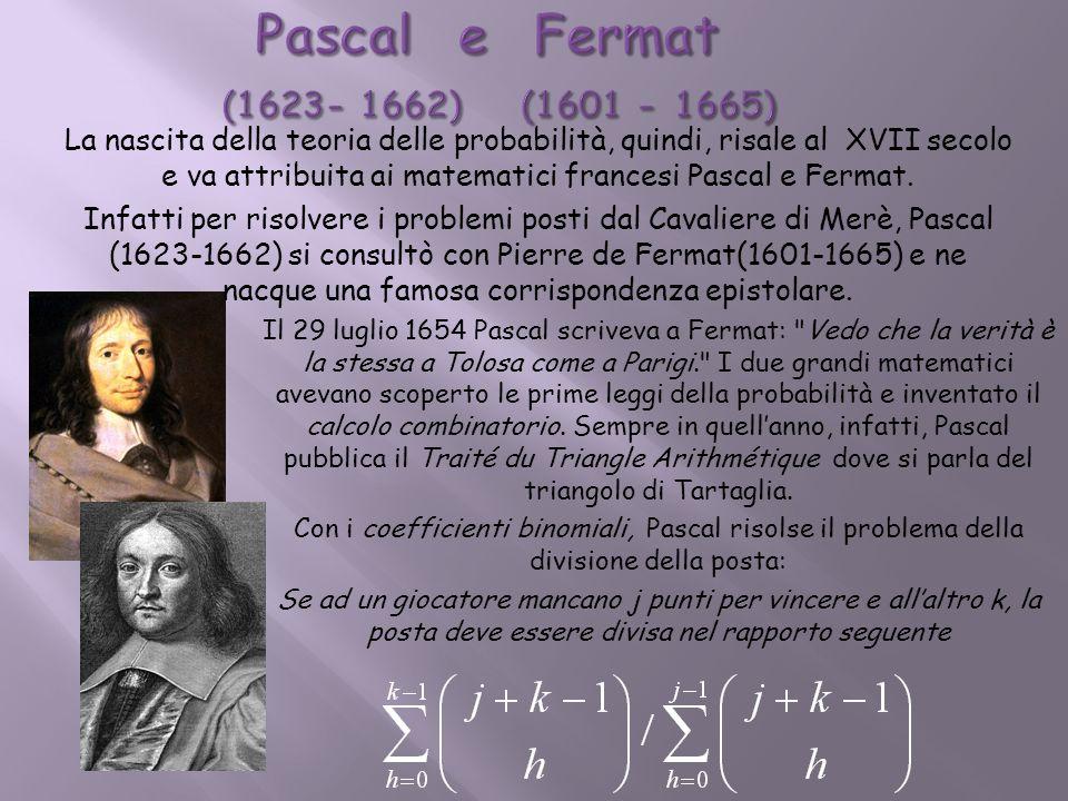 Pascal e Fermat (1623- 1662) (1601 - 1665)