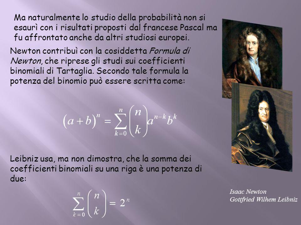 Ma naturalmente lo studio della probabilità non si esaurì con i risultati proposti dal francese Pascal ma fu affrontato anche da altri studiosi europei.