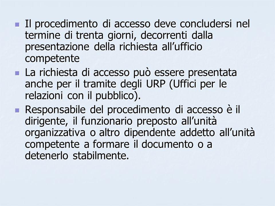 Il procedimento di accesso deve concludersi nel termine di trenta giorni, decorrenti dalla presentazione della richiesta all'ufficio competente