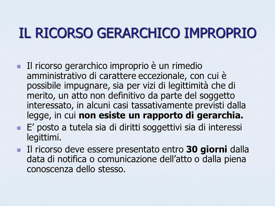 IL RICORSO GERARCHICO IMPROPRIO