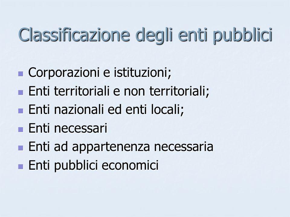 Classificazione degli enti pubblici