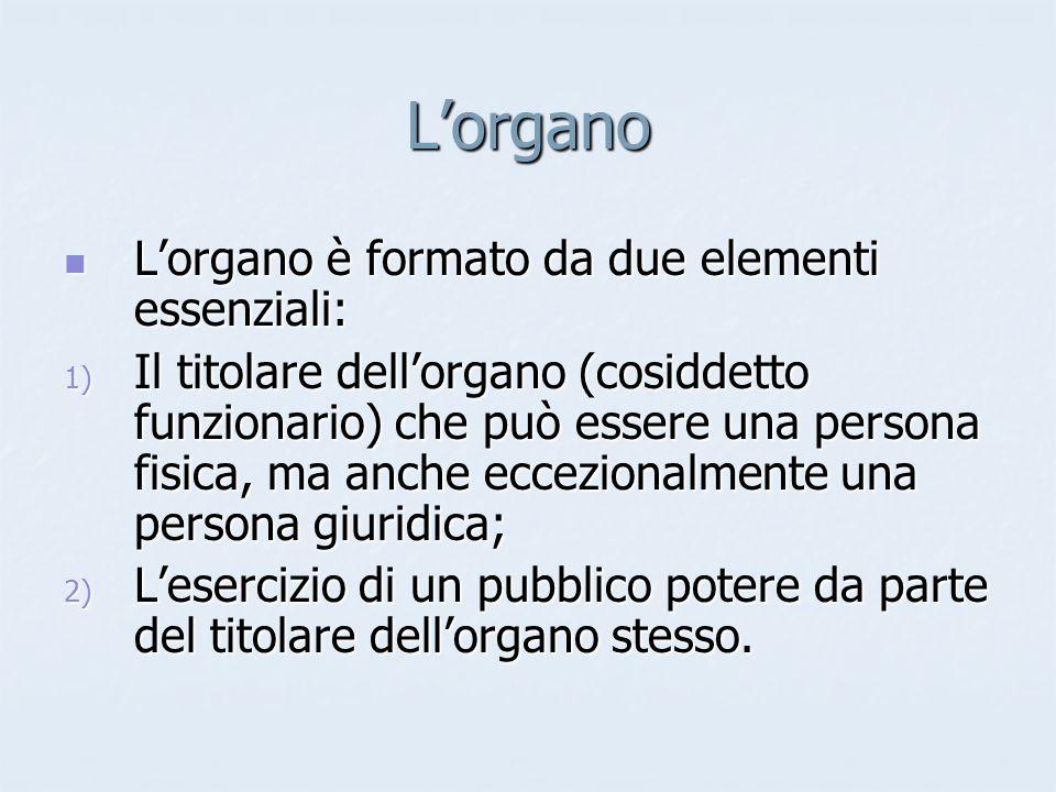 L'organo L'organo è formato da due elementi essenziali: