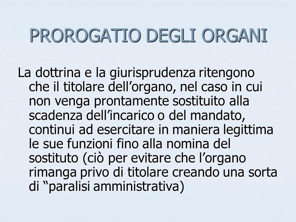 PROROGATIO DEGLI ORGANI