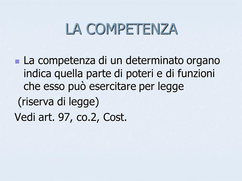 LA COMPETENZA La competenza di un determinato organo indica quella parte di poteri e di funzioni che esso può esercitare per legge.