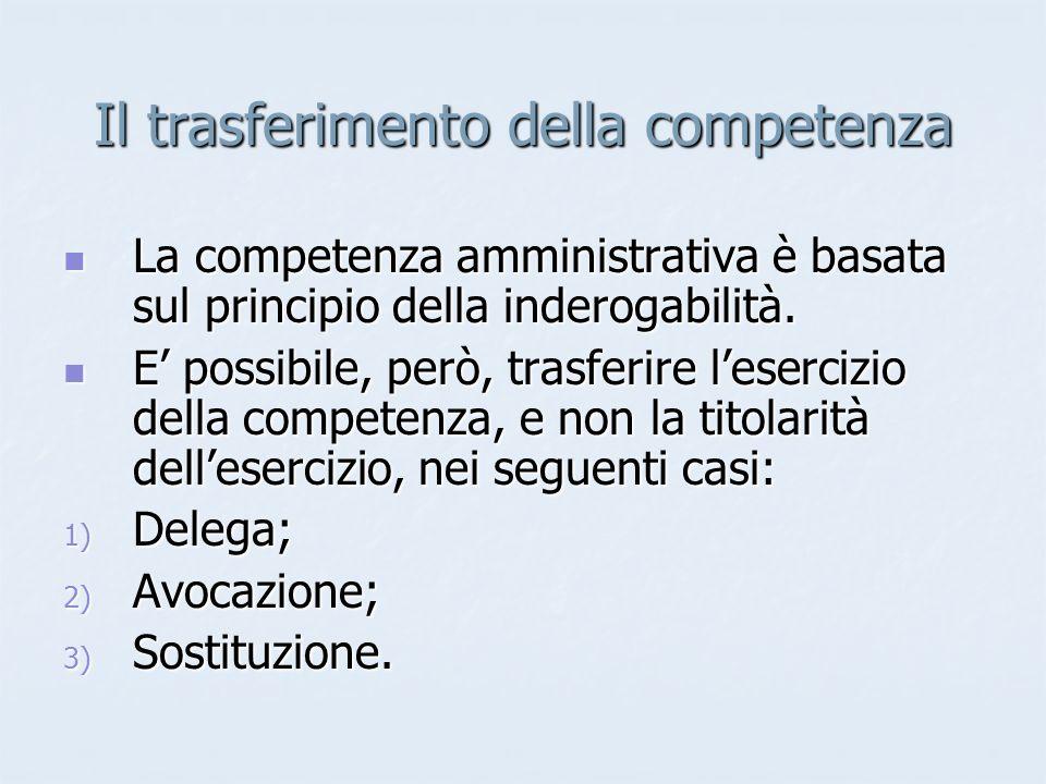 Il trasferimento della competenza