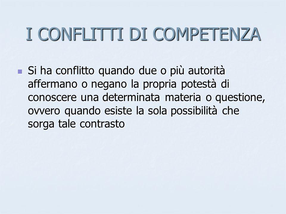 I CONFLITTI DI COMPETENZA