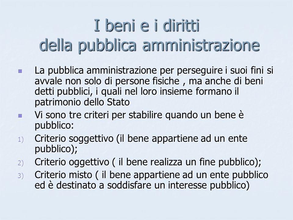 I beni e i diritti della pubblica amministrazione