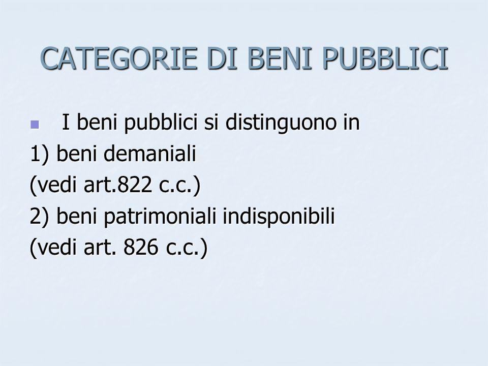 CATEGORIE DI BENI PUBBLICI