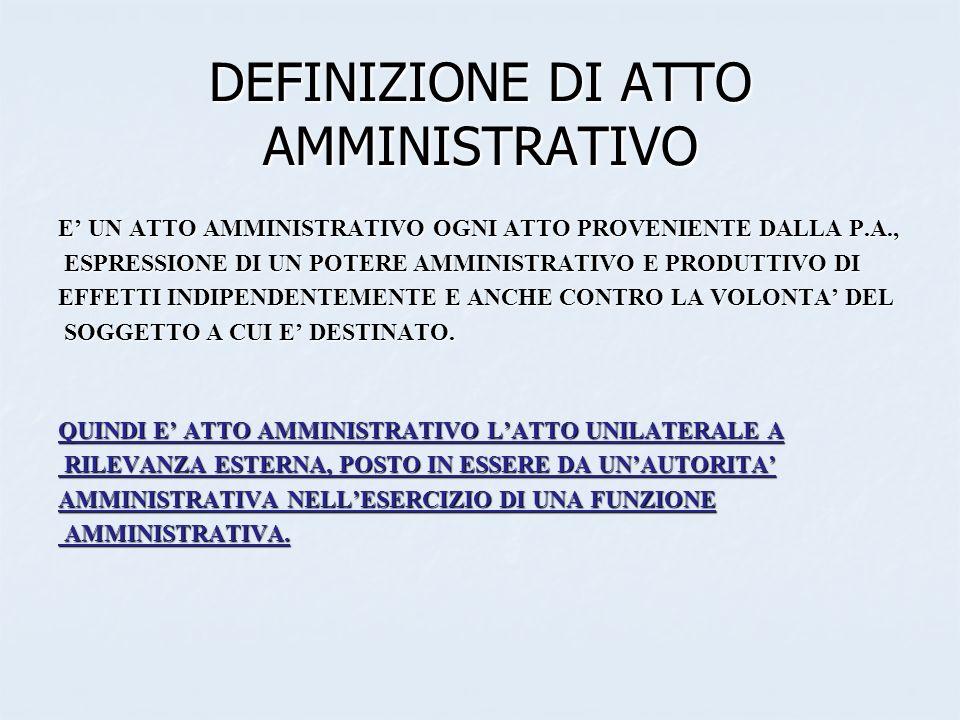 DEFINIZIONE DI ATTO AMMINISTRATIVO
