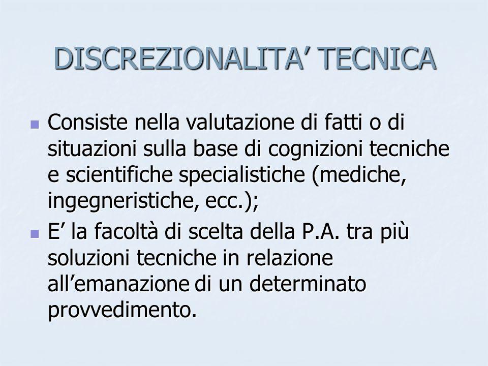 DISCREZIONALITA' TECNICA