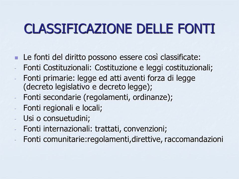 CLASSIFICAZIONE DELLE FONTI