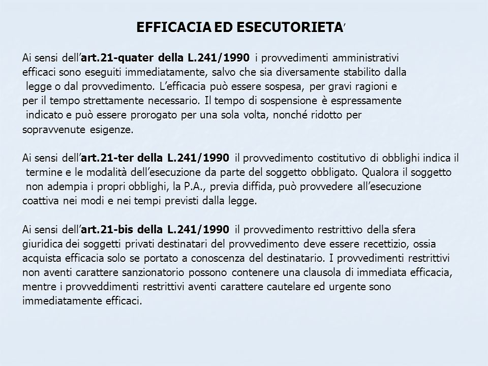 EFFICACIA ED ESECUTORIETA'