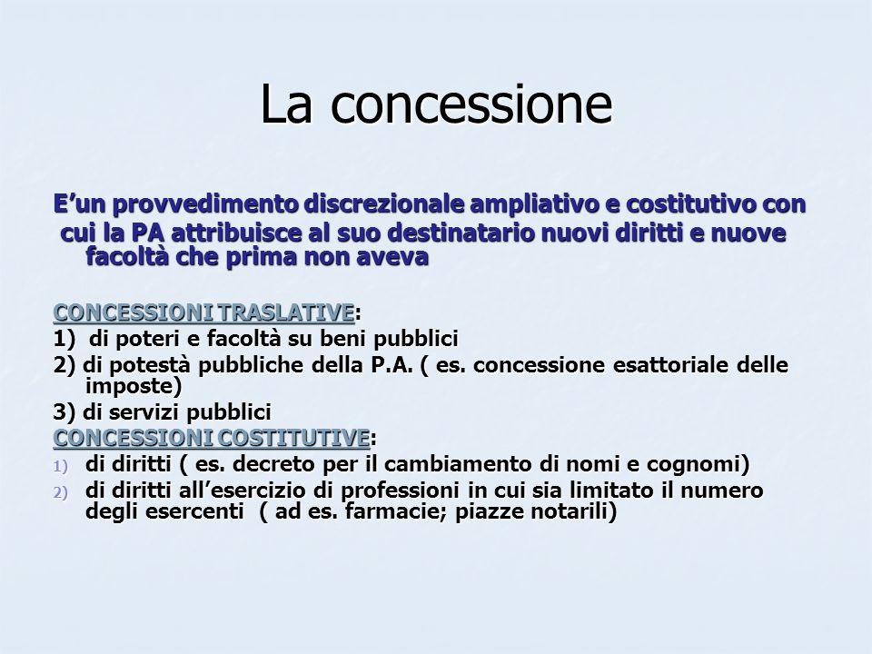 La concessione E'un provvedimento discrezionale ampliativo e costitutivo con.