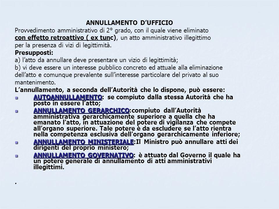 ANNULLAMENTO D'UFFICIO