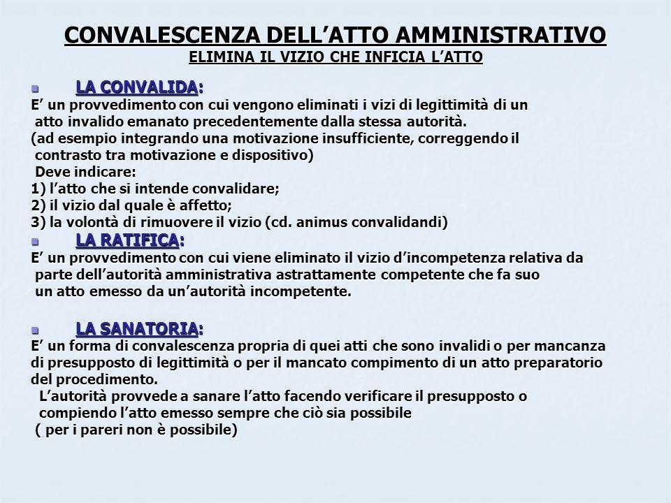 CONVALESCENZA DELL'ATTO AMMINISTRATIVO ELIMINA IL VIZIO CHE INFICIA L'ATTO