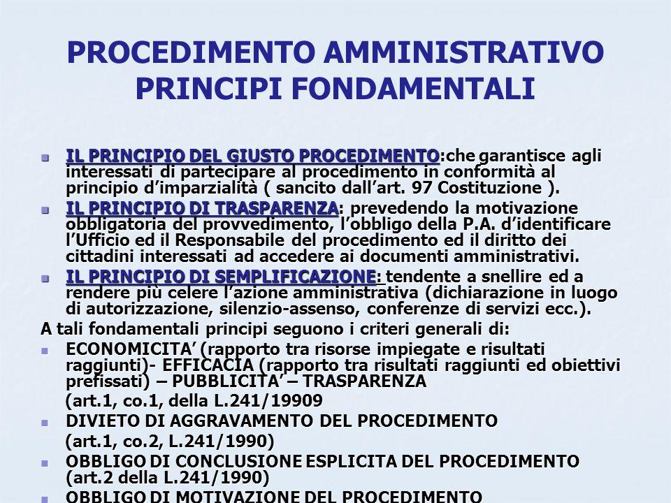 PROCEDIMENTO AMMINISTRATIVO PRINCIPI FONDAMENTALI
