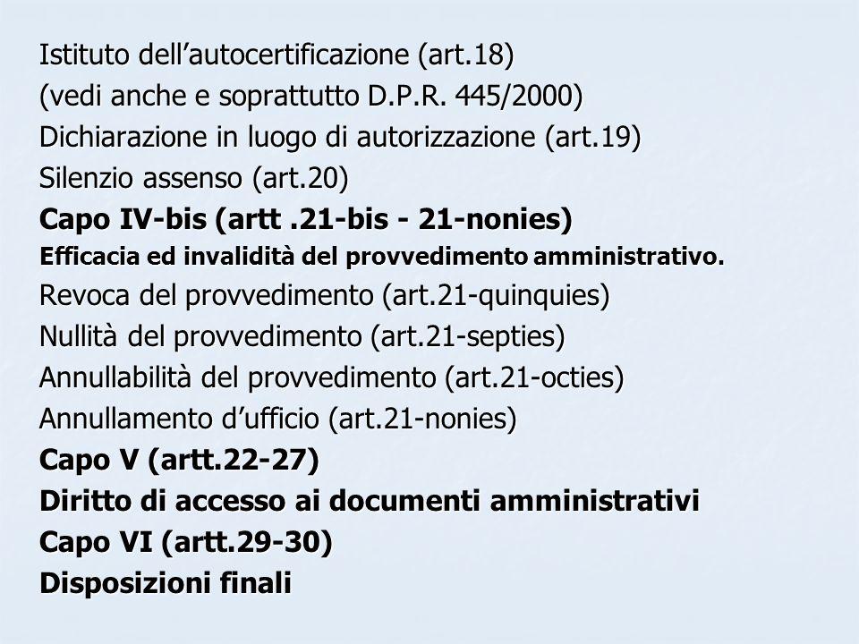 Istituto dell'autocertificazione (art.18)