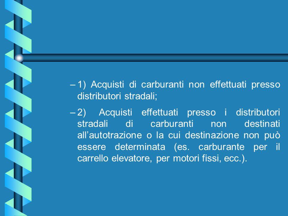1) Acquisti di carburanti non effettuati presso distributori stradali;