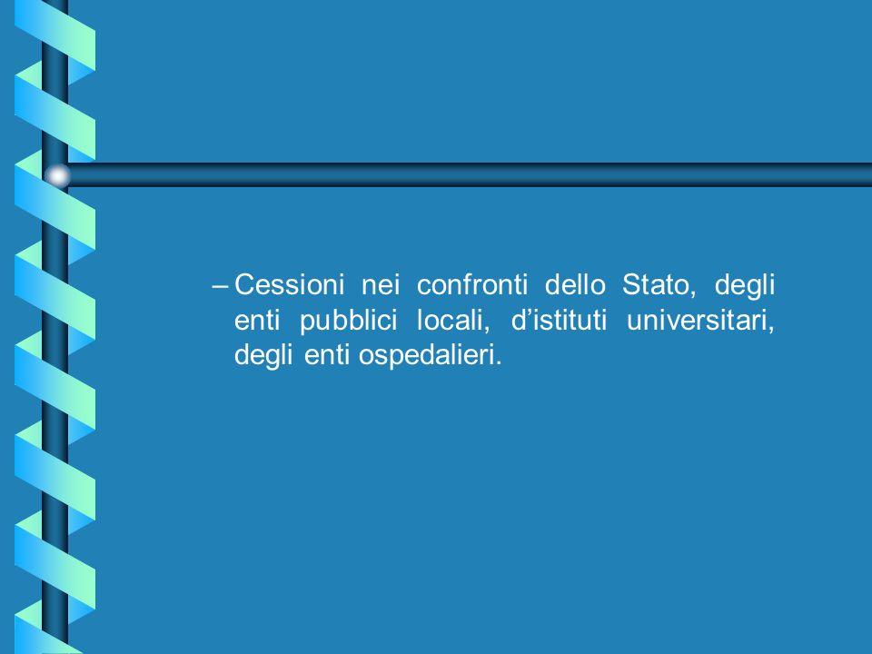 Cessioni nei confronti dello Stato, degli enti pubblici locali, d'istituti universitari, degli enti ospedalieri.