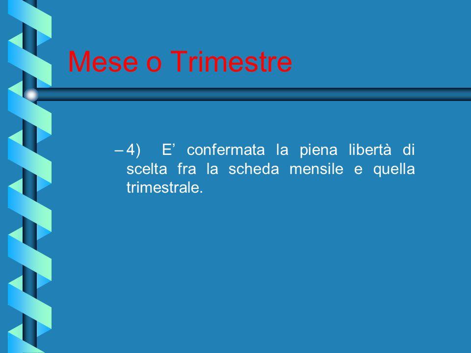 Mese o Trimestre 4) E' confermata la piena libertà di scelta fra la scheda mensile e quella trimestrale.