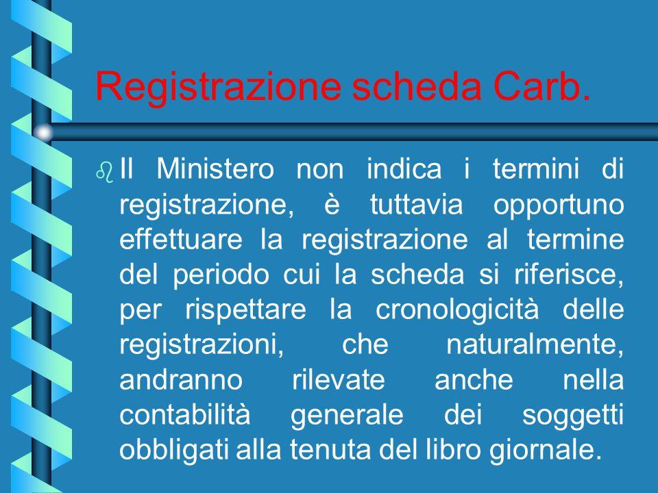 Registrazione scheda Carb.