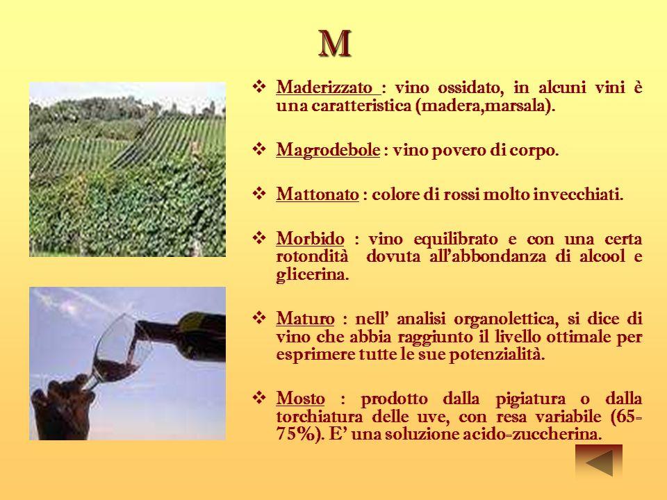M Maderizzato : vino ossidato, in alcuni vini è una caratteristica (madera,marsala). Magrodebole : vino povero di corpo.