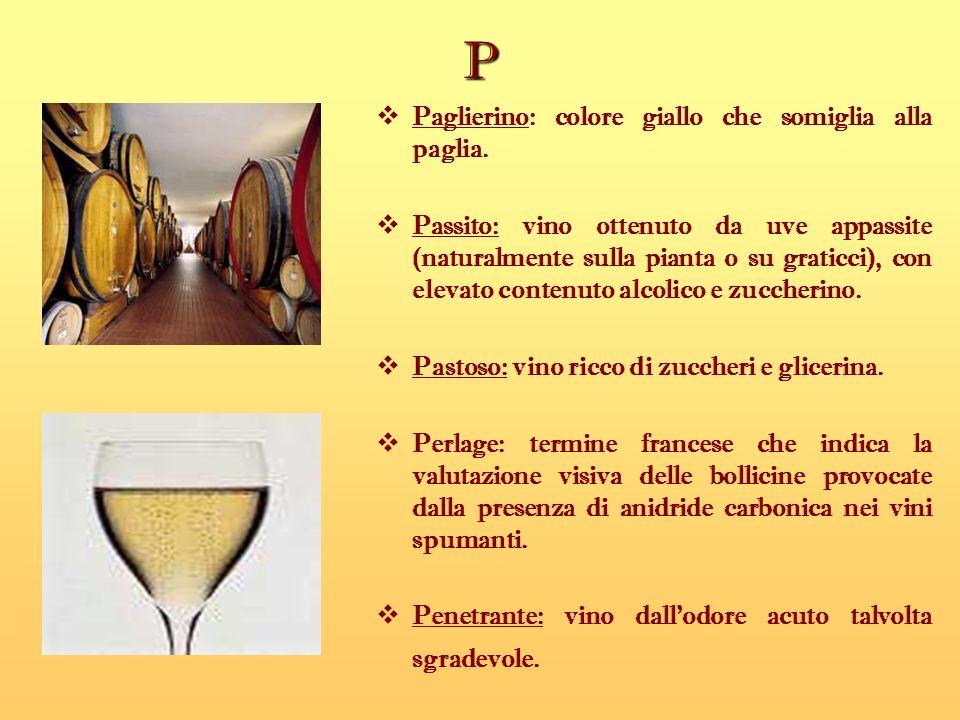 P Paglierino: colore giallo che somiglia alla paglia.