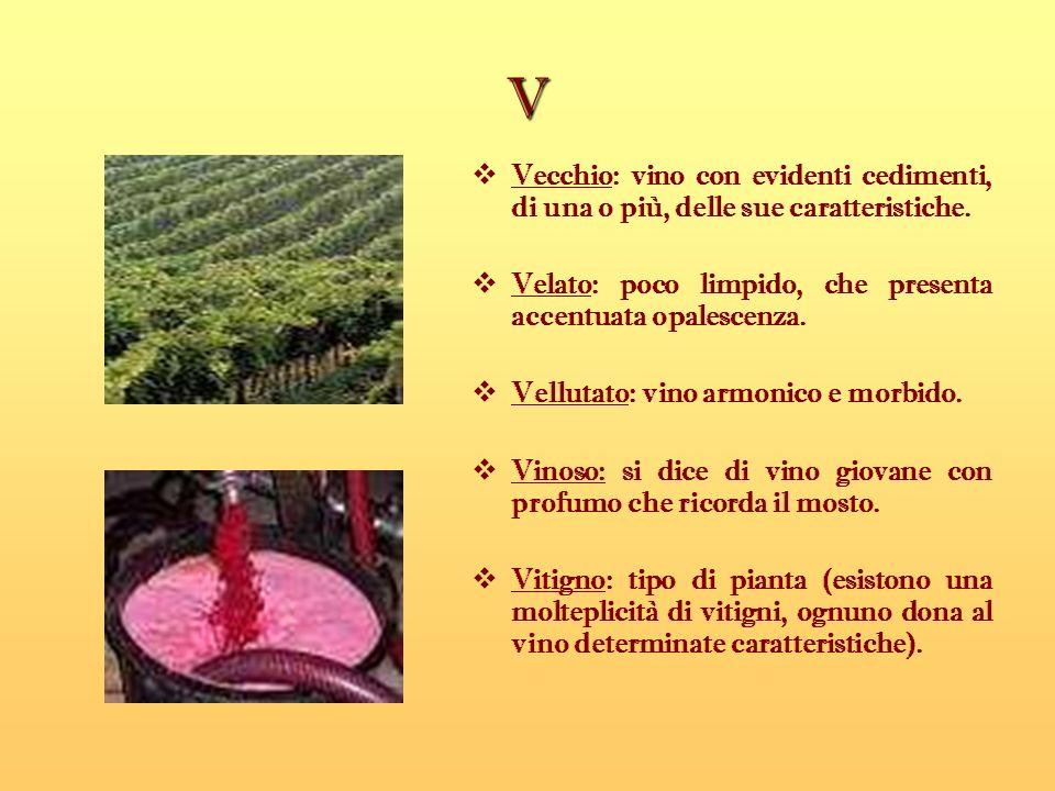V Vecchio: vino con evidenti cedimenti, di una o più, delle sue caratteristiche. Velato: poco limpido, che presenta accentuata opalescenza.
