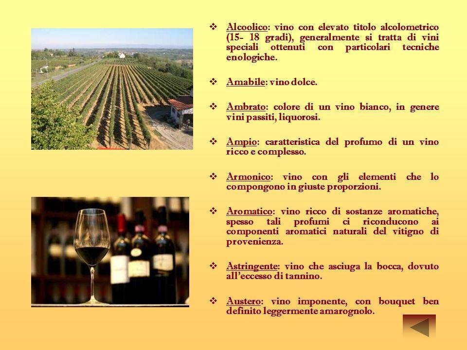 Alcoolico: vino con elevato titolo alcolometrico (15- 18 gradi), generalmente si tratta di vini speciali ottenuti con particolari tecniche enologiche.