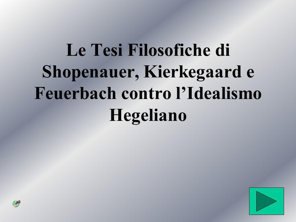 Le Tesi Filosofiche di Shopenauer, Kierkegaard e Feuerbach contro l'Idealismo Hegeliano