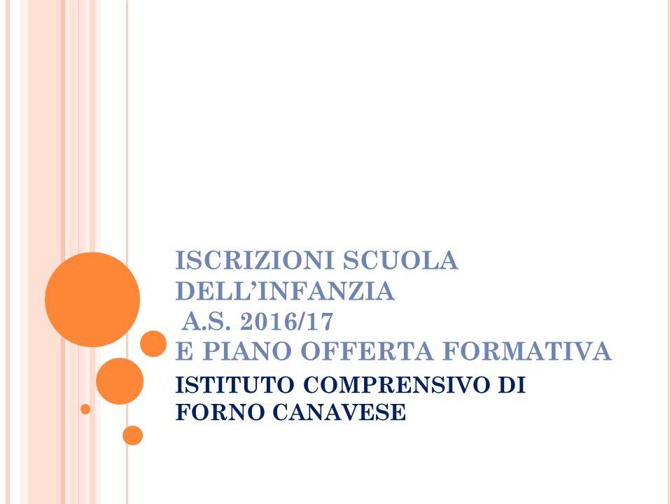 ISCRIZIONI SCUOLA DELL'INFANZIA A.S. 2016/17 E PIANO OFFERTA FORMATIVA