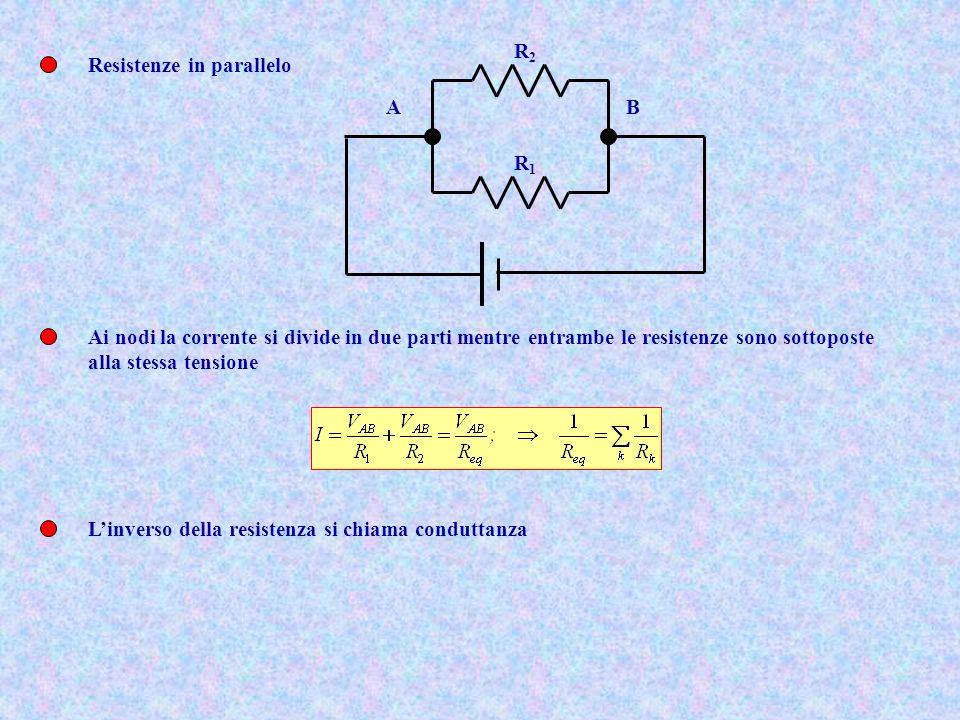 R1 R2. A. B. Resistenze in parallelo. Ai nodi la corrente si divide in due parti mentre entrambe le resistenze sono sottoposte.