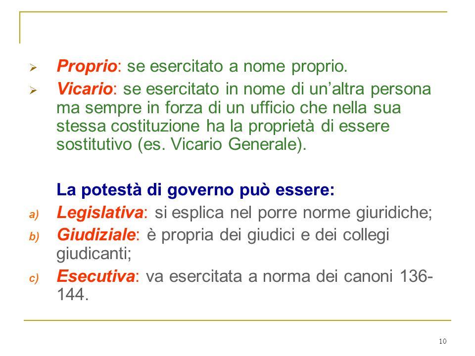 Il potere di governo ordinario può essere: