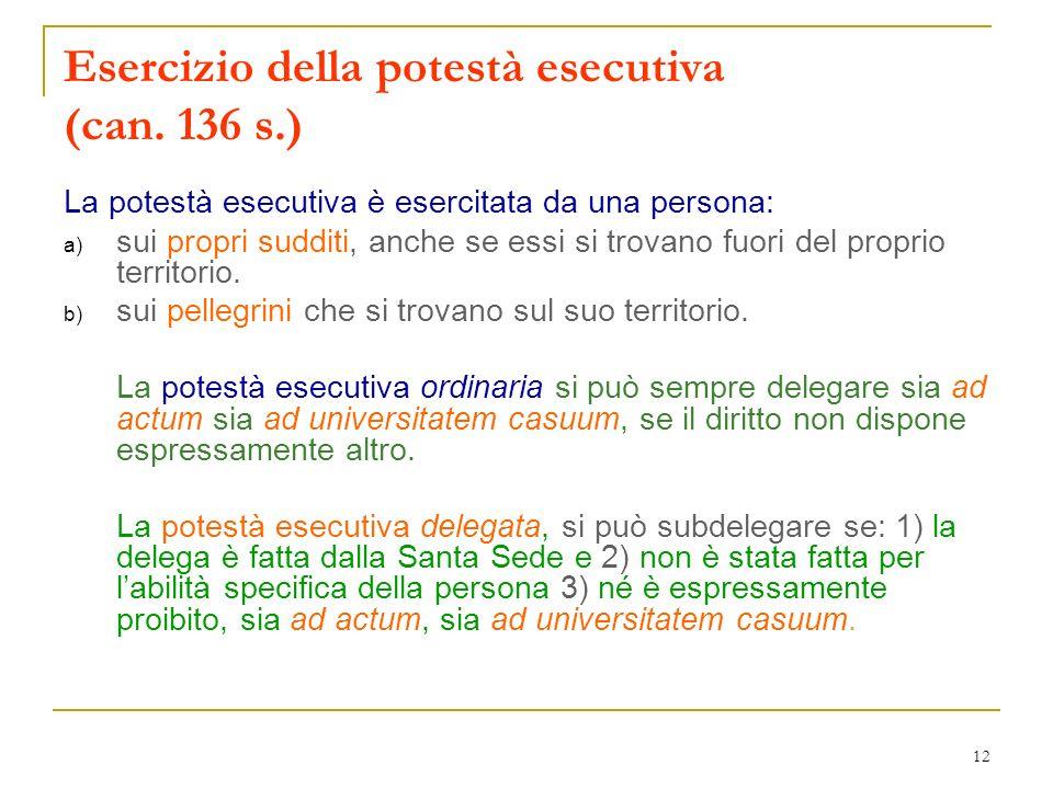 Esercizio della potestà esecutiva (can. 136 s.)