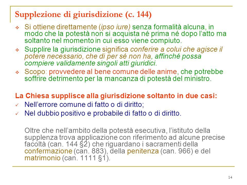 Supplezione di giurisdizione (c. 144)