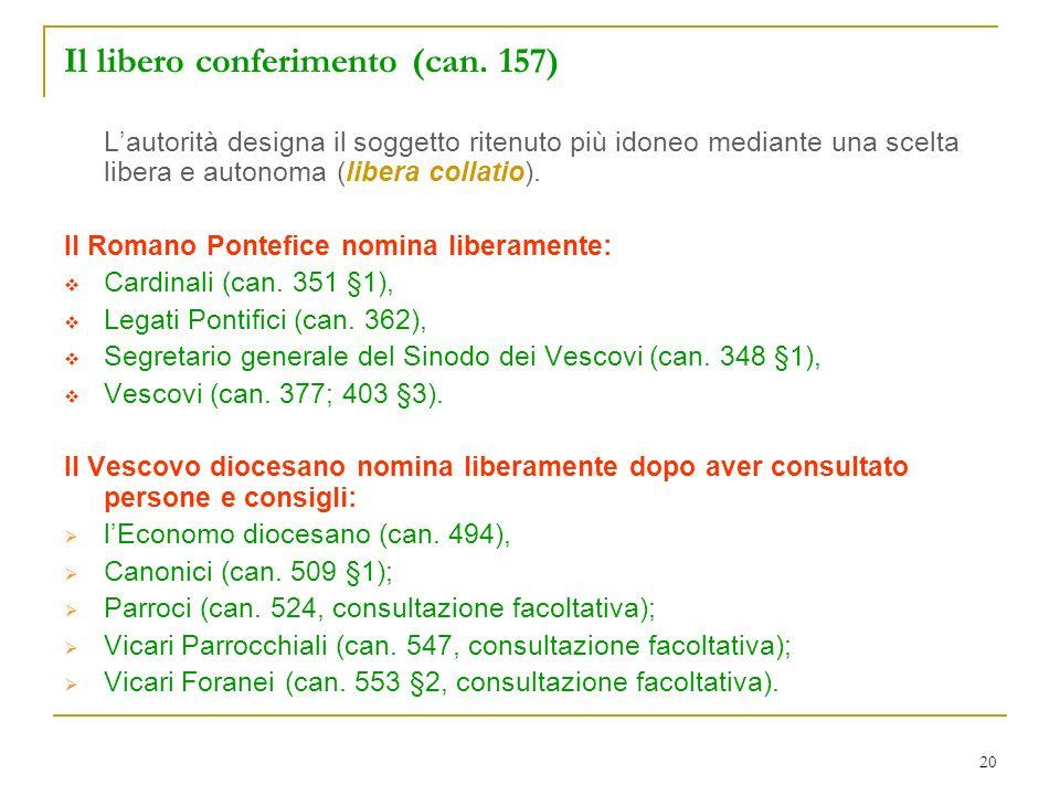 Il libero conferimento (can. 157)