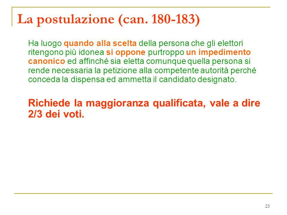 La postulazione (can. 180-183)