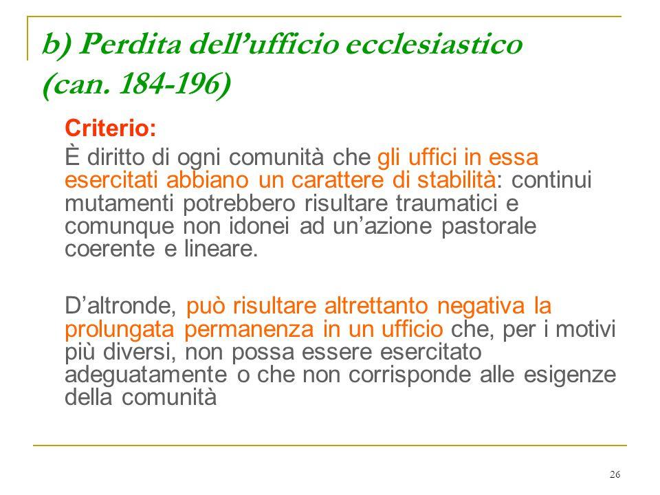 b) Perdita dell'ufficio ecclesiastico (can. 184-196)