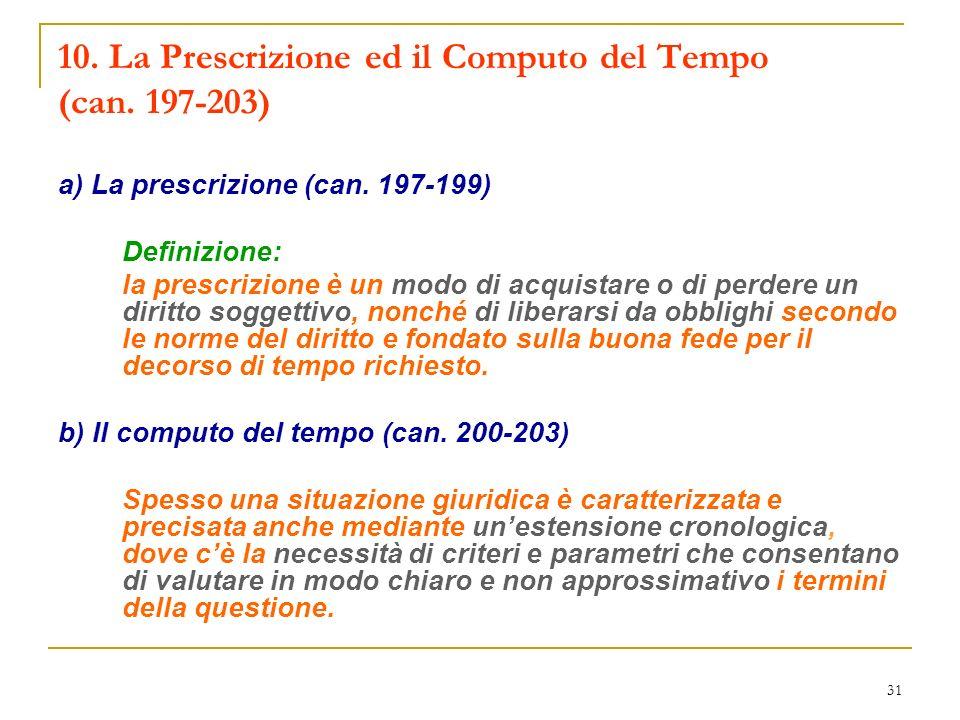 10. La Prescrizione ed il Computo del Tempo (can. 197-203)