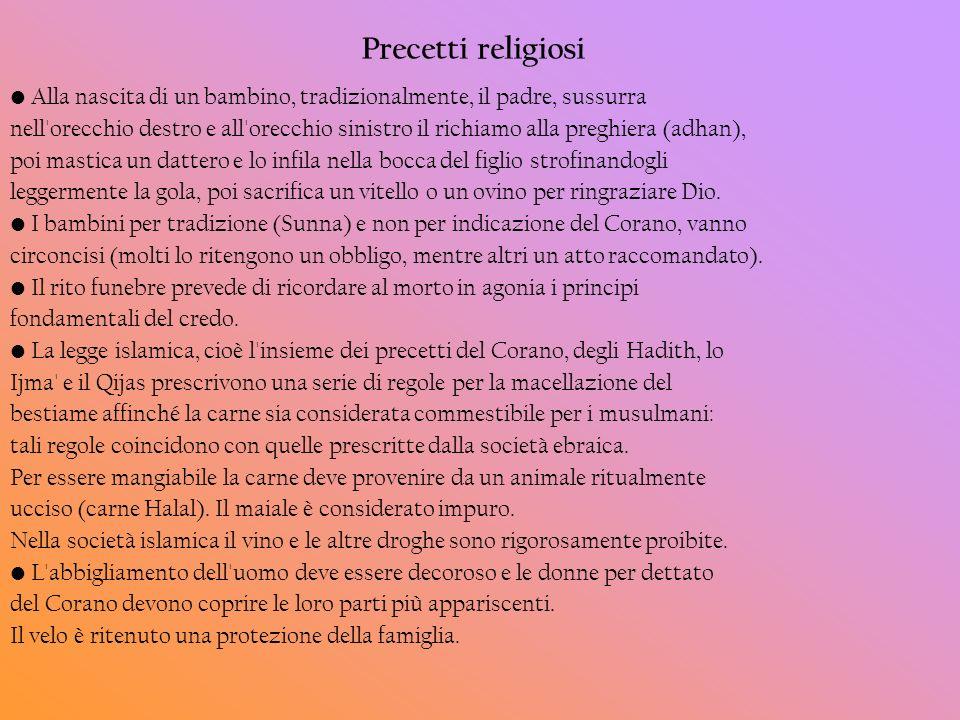 Precetti religiosi• Alla nascita di un bambino, tradizionalmente, il padre, sussurra.